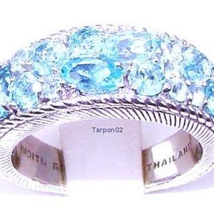 Judith Ripka Apatite Silver Band Ring Size 6